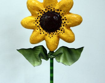 Yellow Black Eyed Susan Spring Flower in Vintage Spool Sculpted Paper Mache Decoration