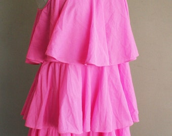 Vintage Nightgown -  1970s Neon Pink Nightie - Slumber Party - Bachelorette - Flirty Fun - by Yolande - Bright Pink Night Gown - 34 Bust