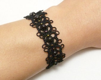 Lace Tatted Bracelet with beads -Petals MTO your color choice tatted jewelry