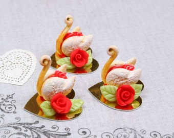 MTO-French Valentine's Pastry Swan - Red Rose - 12th Scale Miniature Food