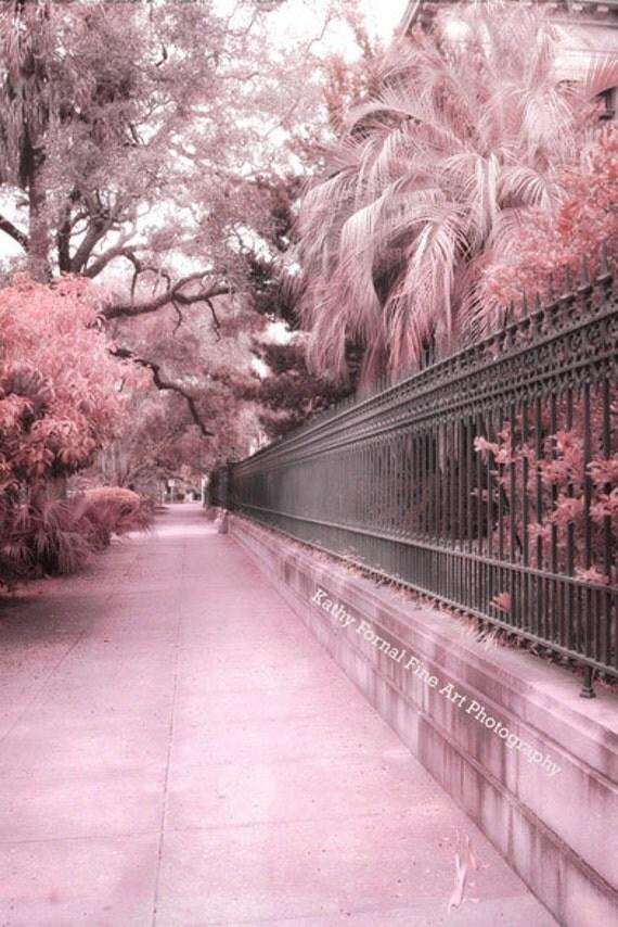 Savannah Photography, Dreamy Pink Savannah Georgia Nature Landscape Prints, Savannah Architecture Gate Prints, Romantic Savannah Street Art