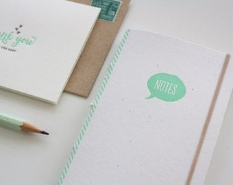 Letterpress Notebook, Mini Journal, Jotter - Minty Note Bubble