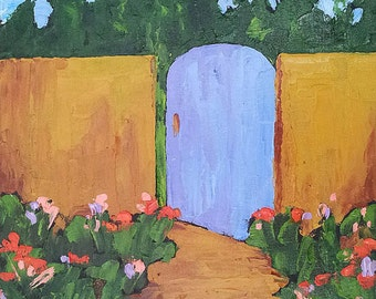Impressionist Painting Original Plein Air Landscape Art BLUE GARDEN GATE 16x20 Lynne French