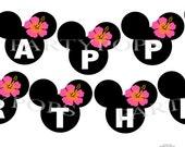 DIY Digital Minnie Mouse Luau Printable Party Banner,  Minnie Mouse Luau Party, Minnie Mouse Birthday, Decoration,  INSTANT DOWNLOAD