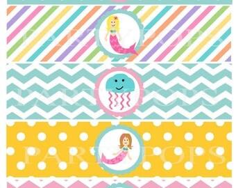 DIY Mermaid Party Printable,  Water Bottle,  Milk Bottle Labels, Napkin Rings, Label,  Mermaid Party Decoration,  INSTANT DOWNLOAD