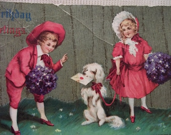 SALE.....Cute Kids w/ Poodle Dog - Bright Red Clothing and Hats - Vintage Postcard - 1911