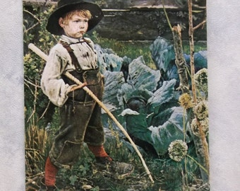 Cute Little Boy in the Cabbage Patch w/ Huge Shoes - Haussner's Restaurant - Vintage Photo Postcard