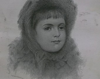 Beautiful Little Girl w/ Frizzy Hair and Hat - Victorian Engraving Trade Card - Gentlemens Fashion  - 1882