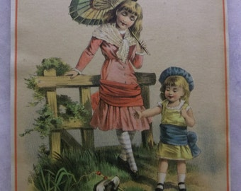Pretty Girls w/ Dog and Parasol - Colorful - Lrg. Victorian Trade Card - College of Pharmacy - 1880's