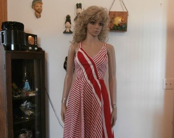Womens Sundress Red& White Pin Stripe  Sundress Vintage 70's Dress