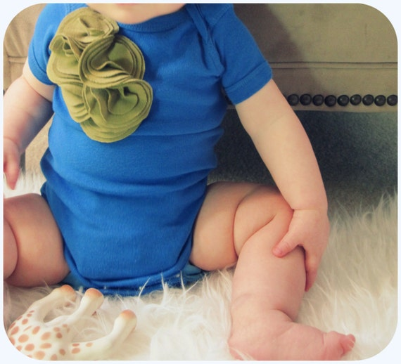 Baby Girl One Piece Bodysuit, Olive Green Cluster On Royal Blue, 6 12 Month, Ready To Ship, Embellished