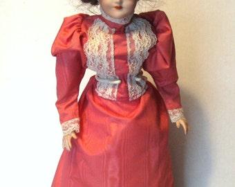 """Kestner Reproduction """"Gibson Girl"""" Doll 1910, Signed by Artist Jane Lovett 1982"""