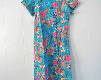 Simple Tropical Dress by Linda Tilson Rainforest 80s 90s Ladies Size SMALL