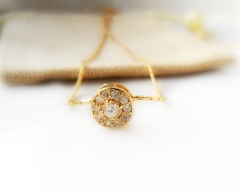 Simple Gold Necklace / Solitaire / Cubic Zirconia / 14K gold chain /  everyday simple jewelry /  minimal necklace / Personalized gift