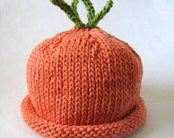 Boston Beanies Carrot Hat, Knit Cotton Orange Baby Hat great photo prop