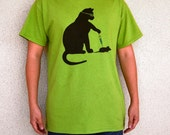 Cat Scientist - Injecting Mouse- T-shirt, Kiwi - Adult S-XL sizes