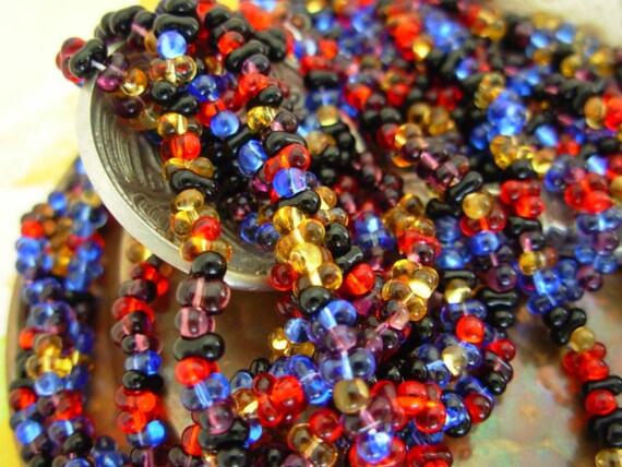2x4mm Czech Farfalle Seed Beads- Russian Mix (2 Strands)