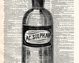 Old Book Art Print - Apothecary Bottle - Vintage Bathroom Kitchen Decor - Recycled Book Print - Steampunk Vintage Art - Upcycled Book Print