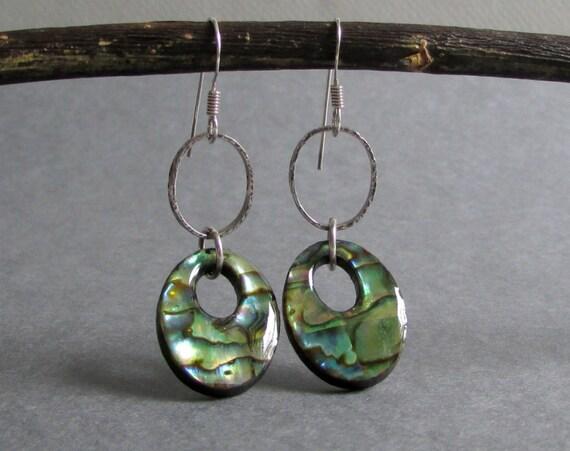 Abalone Shell Dangle Earrings / Hammered Oxidized Sterling Silver Earrings / Rainbow Paua Shell Earrings - Calypso
