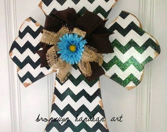 Black + White Chevron Cross Door Hanger - Bronwyn Hanahan Art