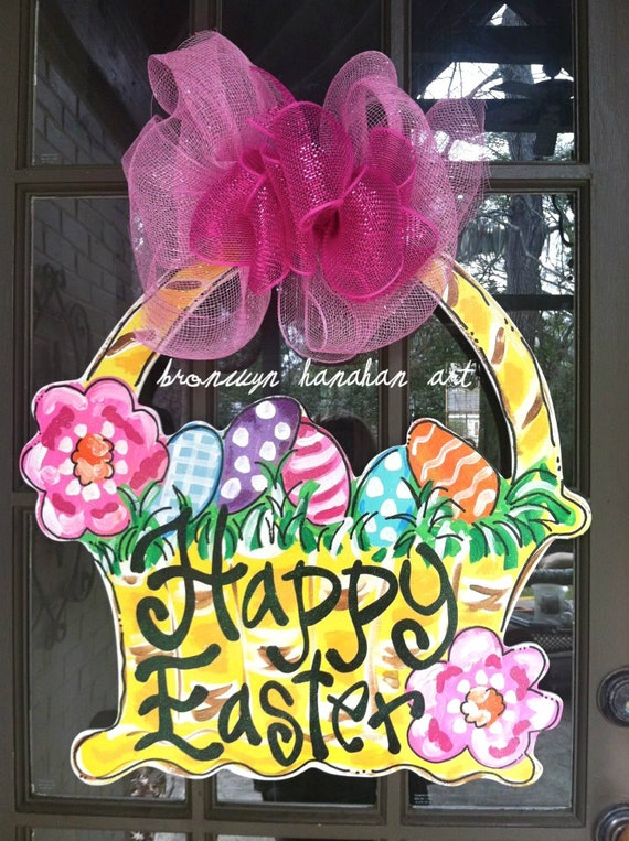 Easter basket door hanger bronwyn hanahan art like this item negle Images
