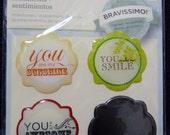 Great New Bravissimo Embellishment - 3 Sentiments & Brass Medallion - Milestones - from Making Memories - FREE SHIPPING