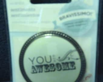 Reduced! Great New Bravissimo Embellishment - Acrylic Sentiment on Brass Medallion - You are Awesome - from Making Memories - FREE SHIPPING
