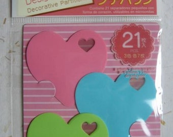 21 Japanese Decorative Heart Partitions for Bento Box, Lunch Snacks