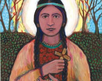 Saint Kateri Tekakwitha - New Saint - Native American - Lily of the Mohawks - Original Art Print - Catholic Art - for Her