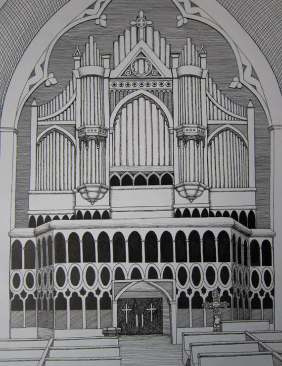 Church Perspective Drawing Church Organ in Providence