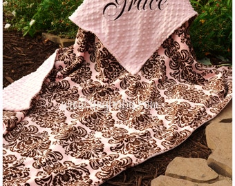 Baby Girl Damask Blanket, Pink and Brown Damask, Pink Minky,Personalized Baby Blanket, Multiple Sizes