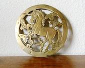 Vintage Brass Unicorn Trivet