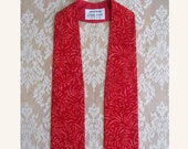 "IMMEDIATE SHIPPING -- Red  Clergy Stole -- Splash Print --  40"" Length"