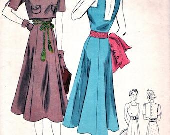 "Vintage 1930's Vogue Pattern 8061 -  GORGEOUS Frock Sun Dress & Bolero - ""easy to make"" - Square Low Back Neckline - Bust 36"