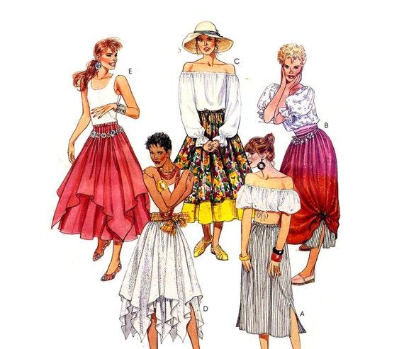 Hanky Hem Gypsy Skirts Layered Elastic Waist Mccalls 4876