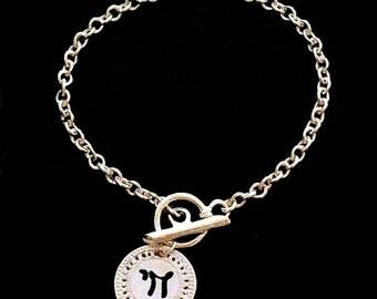 Hebrew Gold bracelet, Chai jewelry, Charm bracelet, Toggle bracelet, Gold jewelry, Designer bracelet, Life, Spiritual jewelry