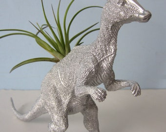 Upcycled Dinosaur Planter - Silver Duck Billed Dino with Air Plant
