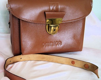Camera Case, Omnica,Brown Leather