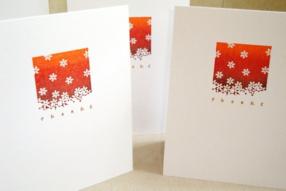 Falling Flowers Thank You Card Set