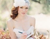 Lace Bridal Juliet Cap Wedding Hair Accessory Flower Headpiece, Flower hair comb, Ivory - Style 210