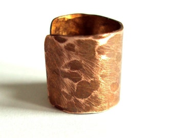 Copper hammered Earcuff  for non pierced ears