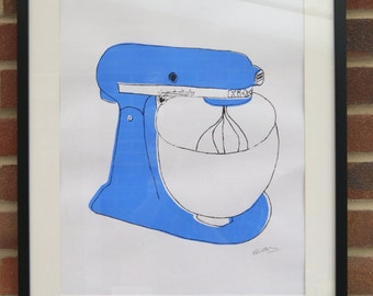 A2 Silk Screen Print of Classic Food Mixer in Blue