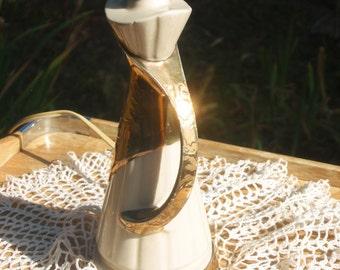 Cream and Gold elegant Bedside lamp, 40s porcelain, metallic 12 inch