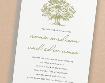 Printable Wedding Invitation Template | INSTANT DOWNLOAD | Oak Tree | Word or Pages | Easy DIY | Editable Artwork Colors