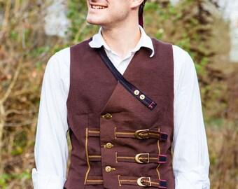 Hardwearing Steampunk Waistcoat with Brass Buckle Fastening- The Musketeer Waistcoat