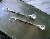 Art Deco Vintage Crystal Rhinestone Earrings - Silver Flapper Dangles - Choose Color