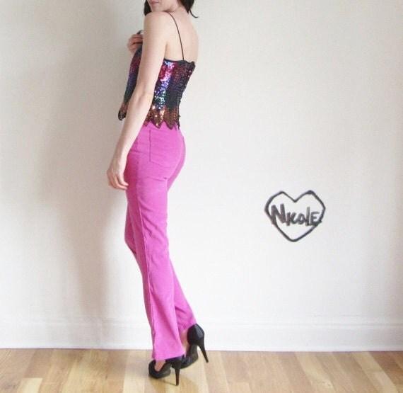 fuchsia high waist pants . boot cut super suede .extra small.xs .sale s a l e