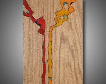 """Original Abstract Art on Oak, Modern Design Woodburned and Colored wtih Prismacolor Pencil, """"Discovery"""" 11.25"""" x 16.25"""""""