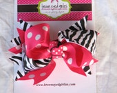 LIMITED EDITION Hot Pink dot and Black Zebra Stripe Hair Bow Hair Clip