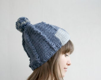 Indigo Wool Hat Beanie  Gray Patchy Christmas Gift For Her